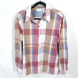 VINTAGE 90s Alfred Dunner Plaid Button Top Shirt